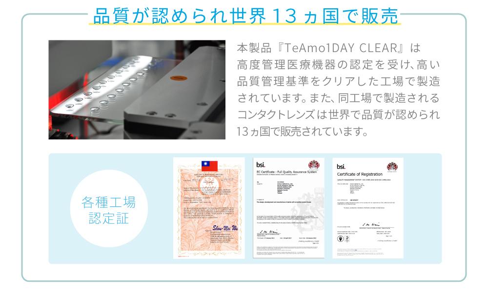 品質が認められ世界13ヵ国で販売 本製品「TeAmo1DAY CLEAR」は高度管理医療機器の認定を受け、高い品質管理基準をクリアした工場で製造されています。また、同工場で製造されるコンタクトレンズは世界で品質が認められ13ヵ国で販売されています。各種工場認定証