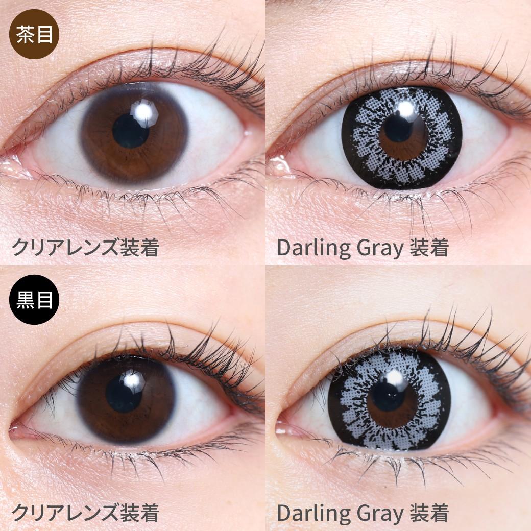 【度あり・度なし】ダーリングレー茶目黒目着用画像  決して媚びない凛としたアッシュグレーカラーで印象的な瞳に。