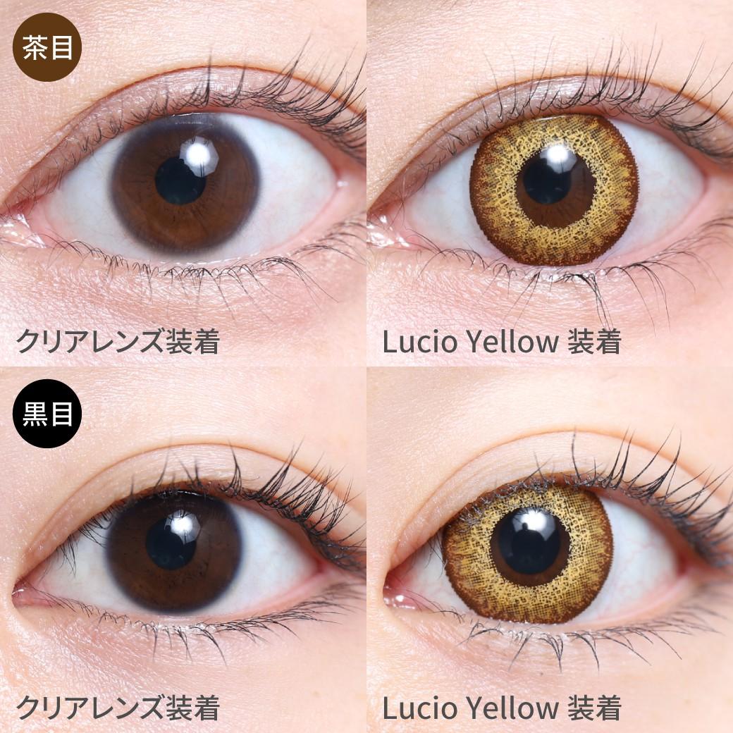 度あり・度なし Lucio Yellow ルチオイエロー茶目黒目着用画像 暖色系のカラーリングで高発色なのにメイクに合わせやすいコスプレ向けカラコン。