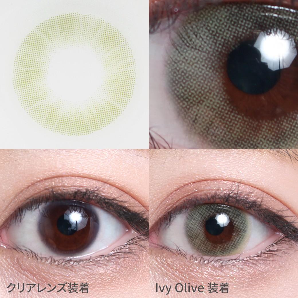 度あり・度なし アイビーオリーブ着用画像 神秘的な深みのある、オリーブカラーで、自然な色素薄い系の瞳に