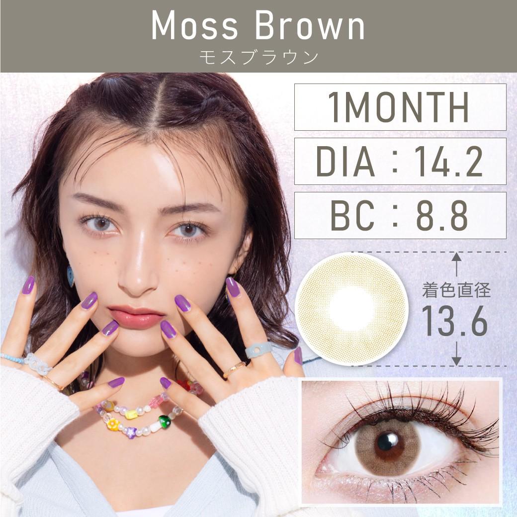 度なし MossBrown モスブラウン 1month 1set2枚入り DIA14.2mm BC8.8mm 着色直径13.6mm 含水率38%