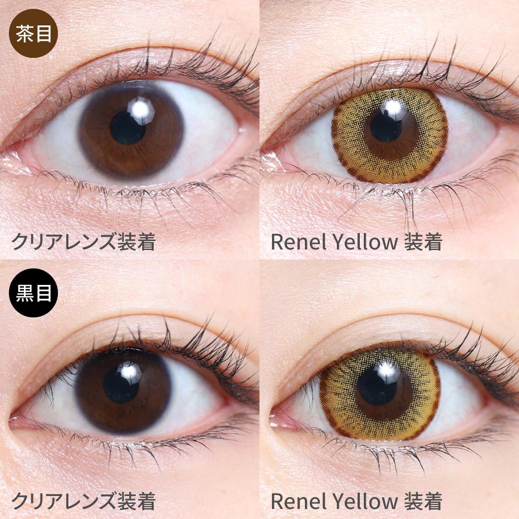 度あり・度なし Renel Yellow茶目黒目着用着画 レネルイエロー きらきら輝くゴールドカラー。 主張しすぎず沈みすぎない絶妙な発色。