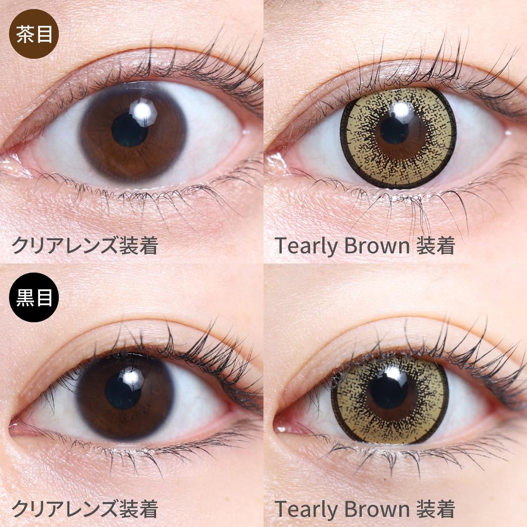 度あり・度なし ティアリーブラウン茶目黒目着用画像 イエローブラウンカラーと程よい太さのフチで、バランスよく盛れる瞳に。