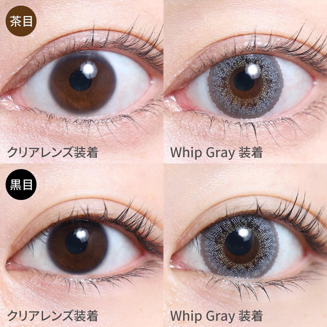度あり・度なし Whip Gray ホイップグレー茶目黒目着用着画 ブラウンのフチで瞳に馴染み 透明感あるグレーカラーはクールな印象を持ち 上品で大人っぽいハーフEYEに