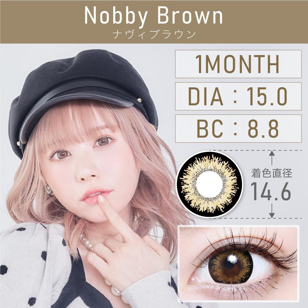 度あり・度なし ナヴィブラウン 1month 1set2枚入り DIA15.0mm BC8.8mm 着色直径14.6mm 含水率38%