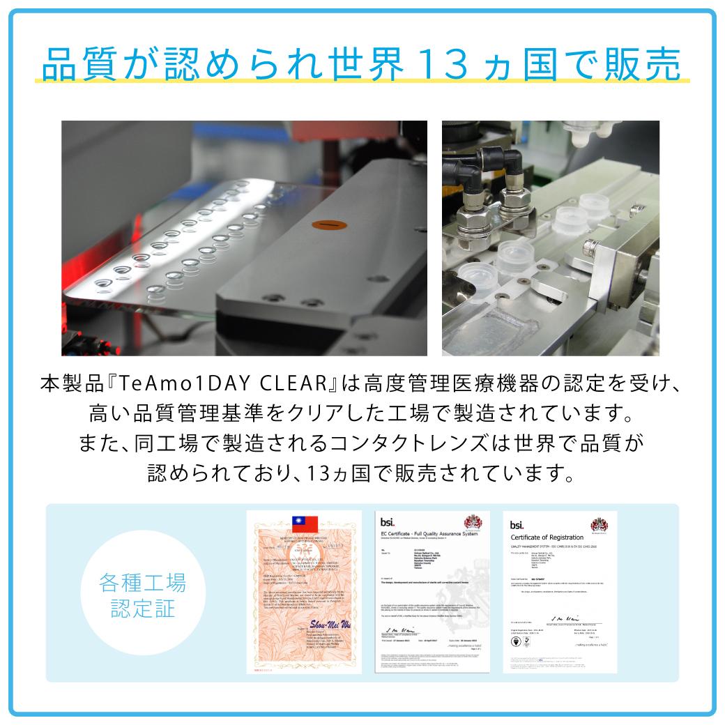 品質が認められ世界13ヵ国で販売 本製品「TeAmo1DAY CLEAR」は高度管理医療機器の認定を受け、高い品質管理基準をクリアした工場で製造されています。