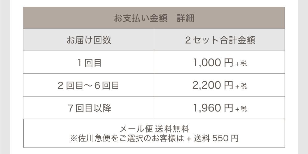「TeAmo1monthカラコン定期便」金額詳細