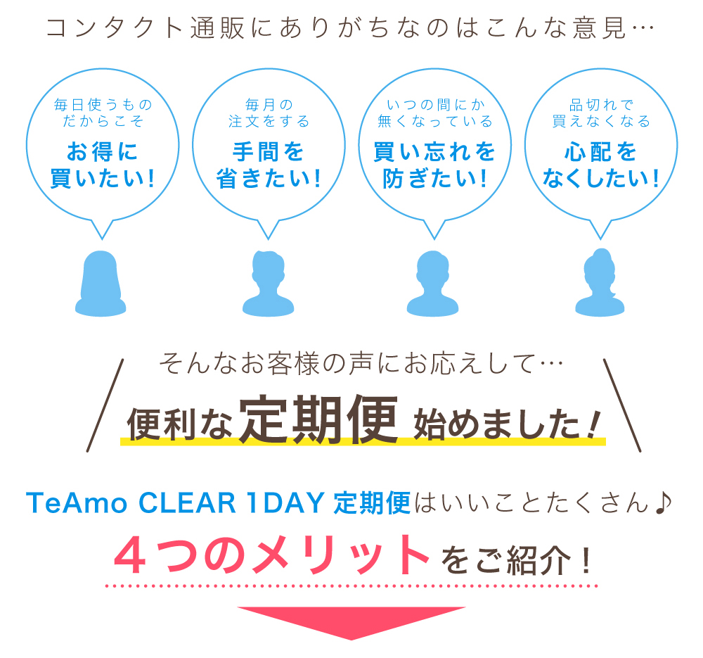 「TeAmo1day CLEAR 定期便」お客様の意見