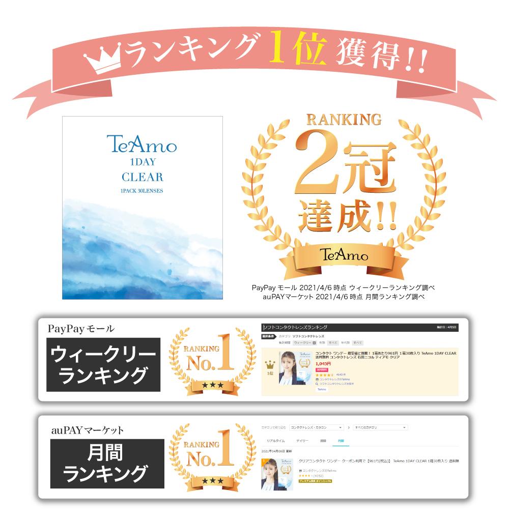 「TeAmo1day CLEAR 定期便」ランキング1位獲得